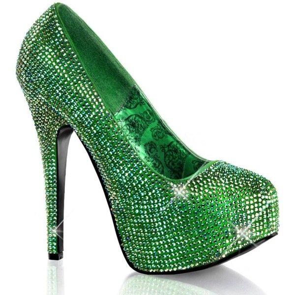 Bordello Teeze 06r Heel Green Satin Iridescent Rinestones 118 Liked On Polyvore Featuring S Platform Pumps Heels Green High Heels Platform High Heel Shoes