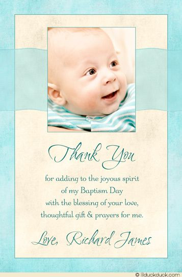 Blessed Baby Photo Thank You Card - Boy Seafoam & Ivory Baptism Design