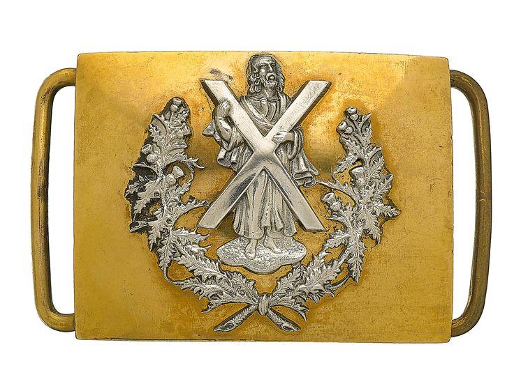 British; Queen's Own Cameron Highlanders, Officer's waist belt plate(Victorian).