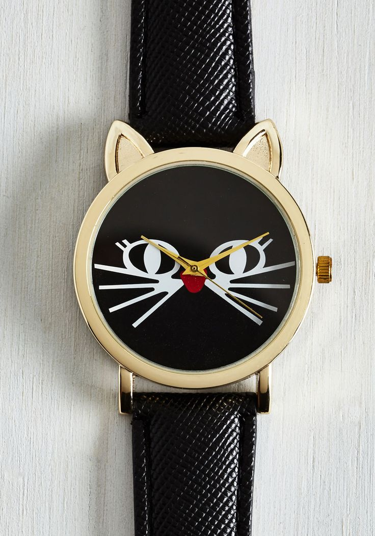 Feline is of the Essence Watch. Theres always time for a smile when glancing at the black cat watch you wear loyally around your wrist! #black #modcloth