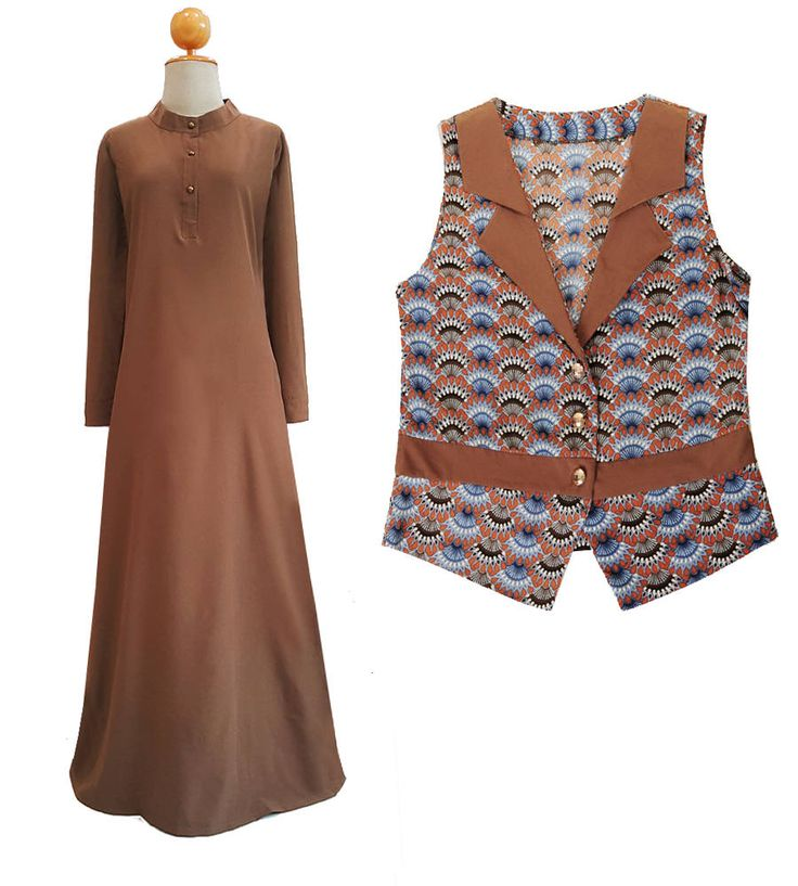 Brown Abaya Maxi Dress With Matching Vest | Long Sleeve Maxi Dress | Mandarin Maxi Dress | Women Printed Vest | Suit Vest Waistcoat 4715 by Tailored2Modesty on Etsy