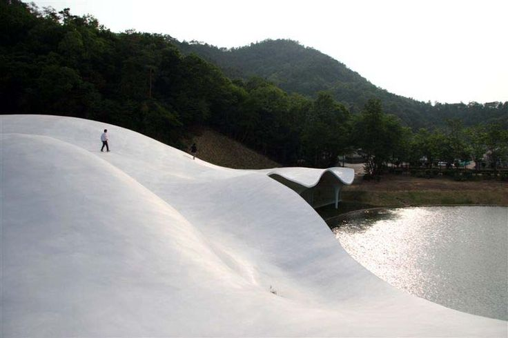 My kind of camping site involves undulating concrete...and being above dead people - Crematorium in Kakamigahara, Toyo Ito