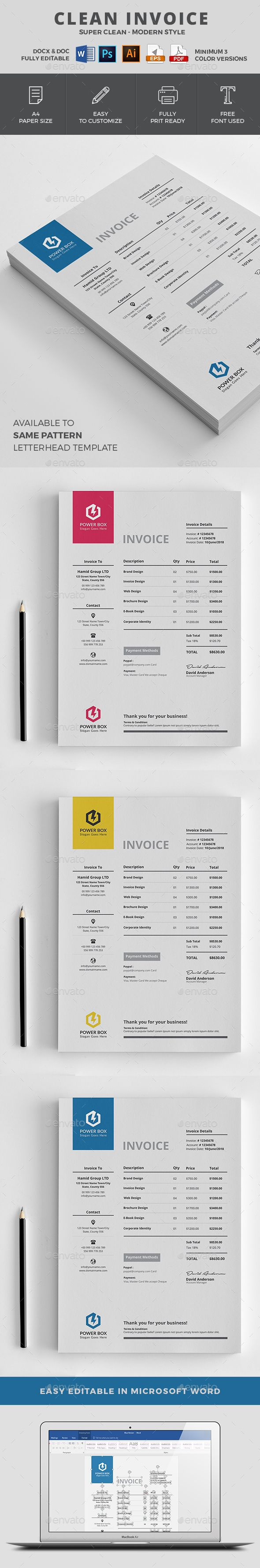 #Invoice - Proposals & Invoices Stationery - Minimal Invoice Template | 5 color variations I Available in- MS Word, PSD, Ai, Eps & Pdf Format I Download: https://graphicriver.net/item/invoice/19253887?ref=jpixel55