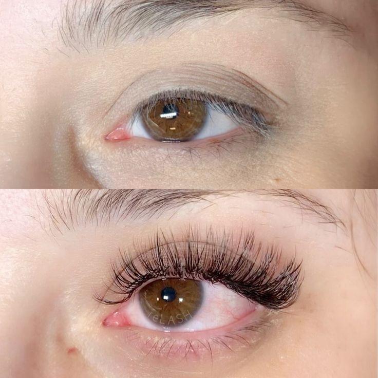 Eyelash extensions before and after   Eyelashes, Keratin ...
