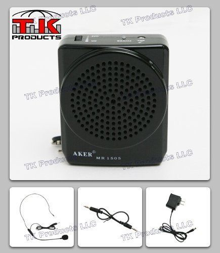 Aker Voice Amplifier 12watts Black MR1505, Portable, for Teachers, Coaches, Tour Guides, Presentations with Mini Tool Box (fs) by TK Products Voice Amplifiers. $212.00. Possible Uses: Costumes, Props, Electronic sound effects, MP3 player, Teachers, Professors, Ministers, Coaches, Tour guides, and Presentations.  Features: - Rechargeable lithium batteries that last 10-15 hours of continuous use before needing a charge. - Battery life will last 2-3 years. - Sound covers over 4,5...