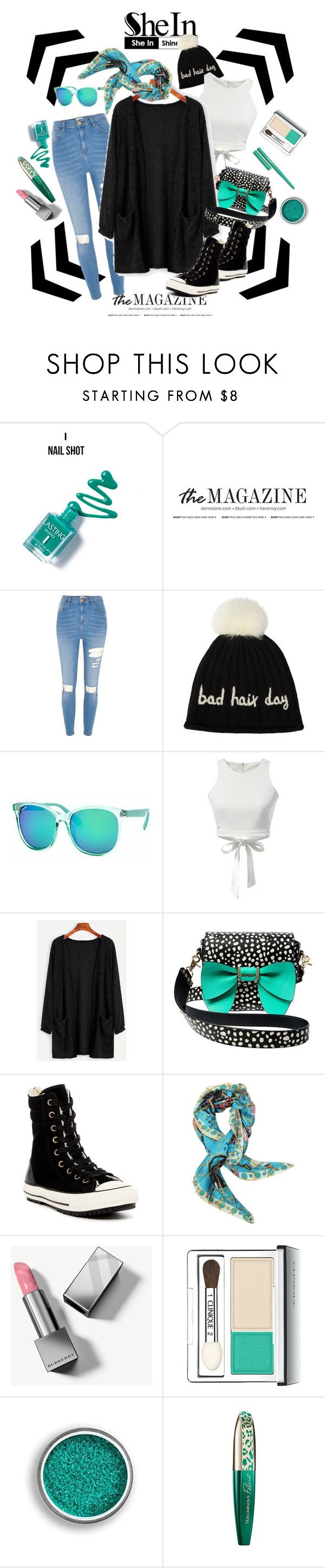 """""""A Touch of Turquoise"""" by metropulse ❤ liked on Polyvore featuring River Island, John Lewis, Polar, Betsey Johnson, Converse, Christian Lacroix, Burberry, Clinique and L'Oréal Paris"""