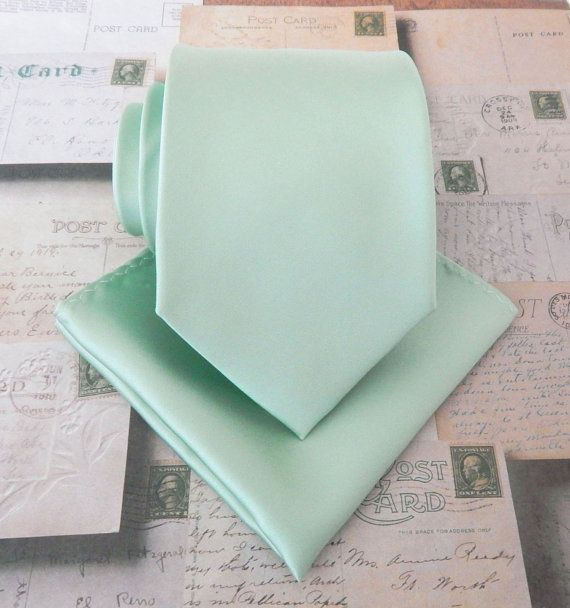 Mens Ties. Dusty Mint Tie. JCrew Inspired Dusty Shale Green Mens Necktie and Matching Pocket Square Set