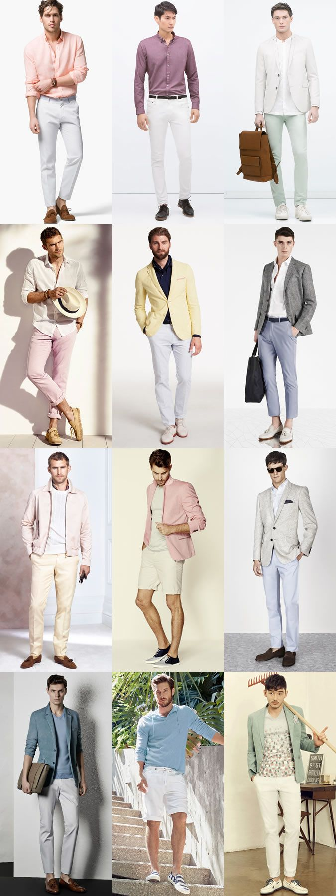 Key Menswear Colour Palettes: White and Pastel Shades Outfit Inspiration Lookbook