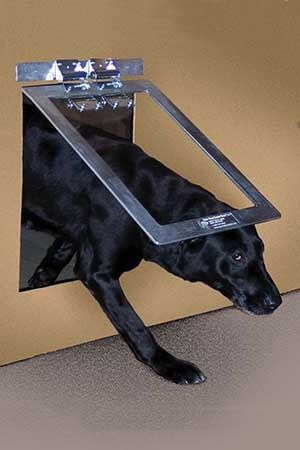Gun Dog House Door Heavy Duty Dog Door fits 12 ½ x 17 ½ hole - This is an industrial strength pet door suitable for kennels and other high usage situations. This door can be installed on any flat surface. The Heavy Duty Dog DoorTM is spring loaded and will slap against whatever surface it is installed on.