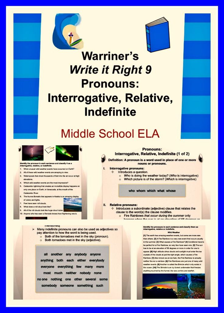 Warriner's Write it Right 9--Pronouns: Interrogative, Relative, and Indefinite. For Middle School ELA students. Activities, Handouts, and Rubrics!
