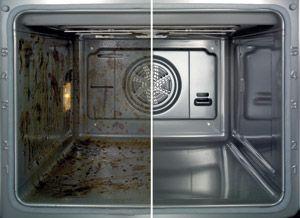 Dit doe je door de oven voor te verwarmen op ongeveer 200 graden. Zet de oven hierna uit en zet een ovenbestendig bakje met heet water en een scheut schoonmaakazijn (net als bij aangekoekte pannen) in de oven en doe de ovendeur dicht. Laat dit een paar uur (of beter – een nacht) staan en je zult merken dat de aangekoekte etensresten heel gemakkelijk te verwijderen zijn met een stukje keukenpapier.