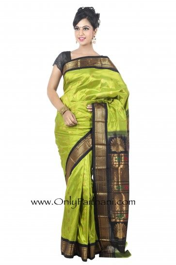 Parrot Green Paithani Saree with Black Border.  #Silksaree #Designersarees #Indiansaree #EthnicCollection #Festival #Sarees #regal #Indian