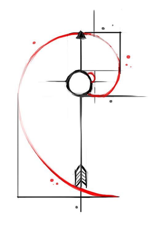 This is my next tattoo (minus the arrow). Fibonacci Spiral.