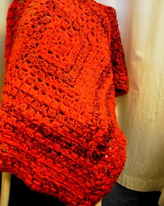 Soft and chunky lap blanket  in red and black - FOR SALE - website on the way, meantime contact me by sending a message.