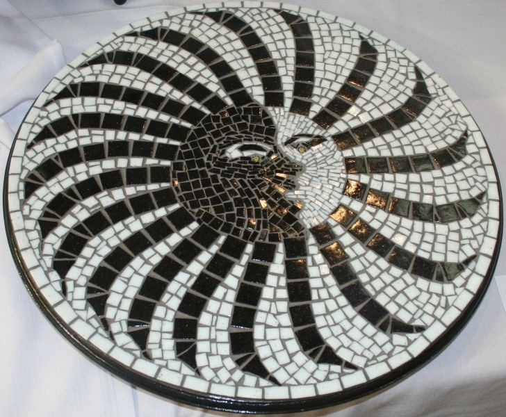 Eclipse - Mosaic lazy susan done in river tiles
