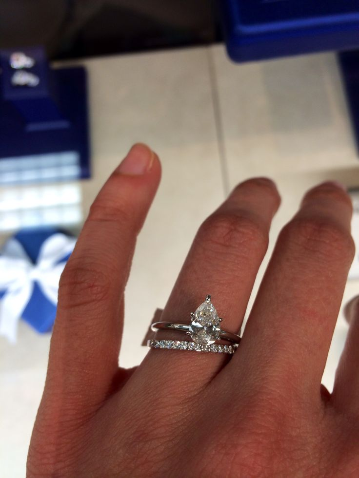 AT Thomas Jeweler. Lincoln 1.1 carat solitaire pear cut engagement ring. Yes please. Absolutely zero I would change about this ring. Size 5.