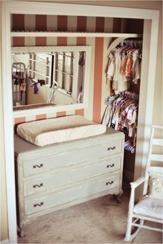 Nursery closet idea, perfect for a very small room or if the baby is to share a room with an older sibling.