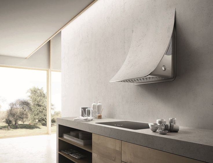 Wall-mounted steel cooker hood NUAGE by Elica design Fabrizio Crisà