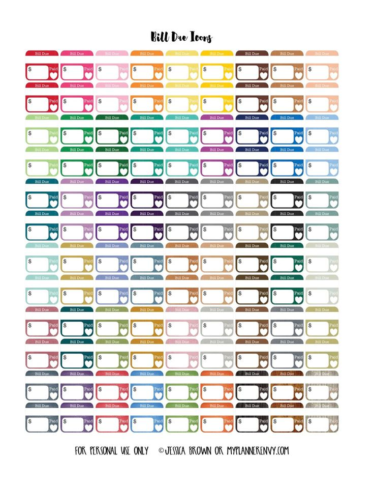 "Free Printable Large .750"" Bill Due Icons Planner Stickers {PDF, JPG and Studio3 files} from myplannerenvy.com"