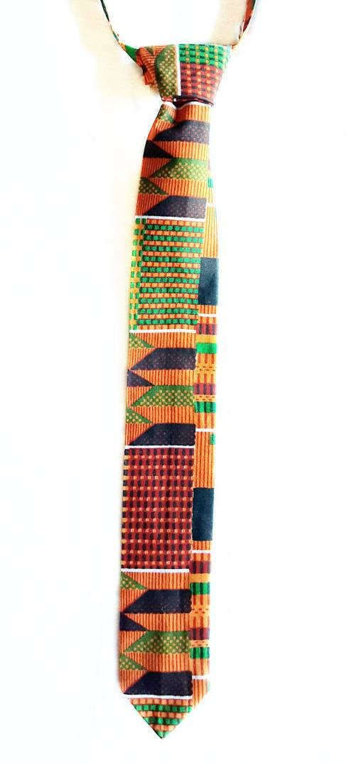 African Kente Velcro Ties African Print Necktie by BOJDGiftShop