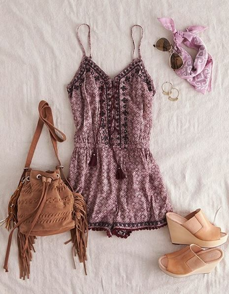 Mirror Lace-Up Romper - Trendslove