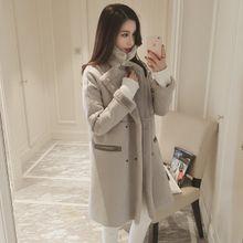 Perempuan suede baru Korea mewah mantel wol Gadis musim gugur panjang yang hangat dan musim dingin ditambah tebal beludru mantel jaket pasang