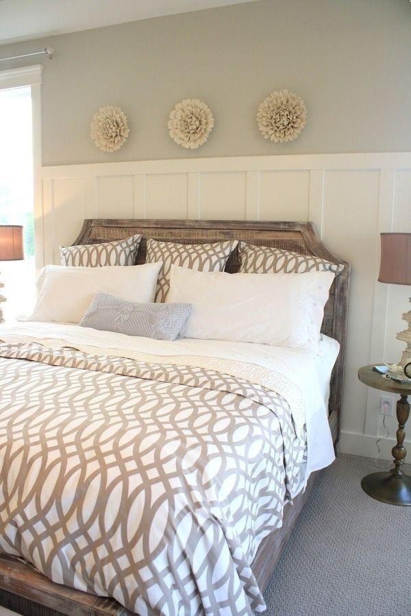 Taupe, greige, white, neutral cutout design bedroom. Think i need that bedding