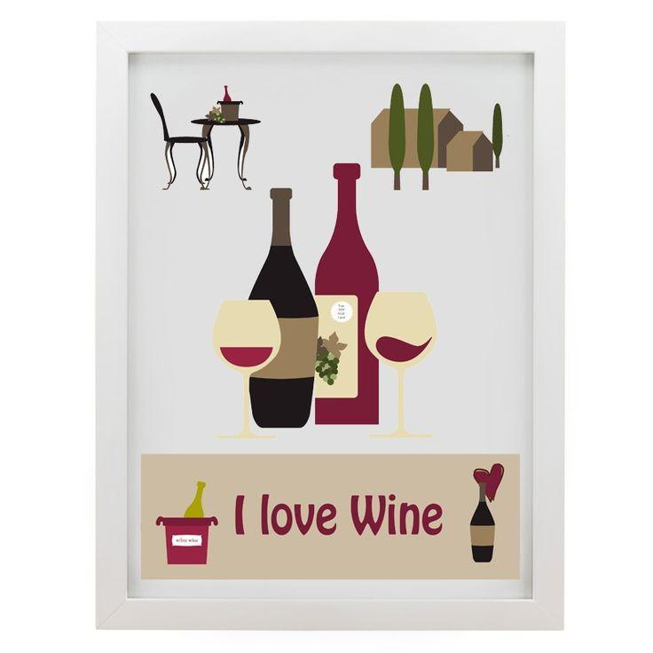 Quadro I Love Wine - Col. Exclusiva