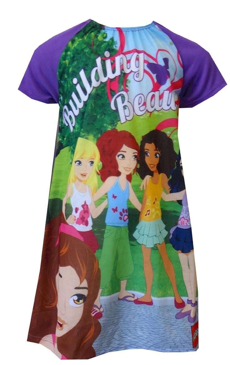 """LEGO Friends Building Beauty Nightgown, $20  Perfect for your Lego girl! These flame resistant short sleeve nightgowns for girls feature LEGO Friends Andrea, Mia, Olivia, Emma and Stephanie in Heartlake City. Designed specifically with girls in mind, this series encourages girls to shape their world with the message """"Building Beauty"""". Machine wash, easy care."""