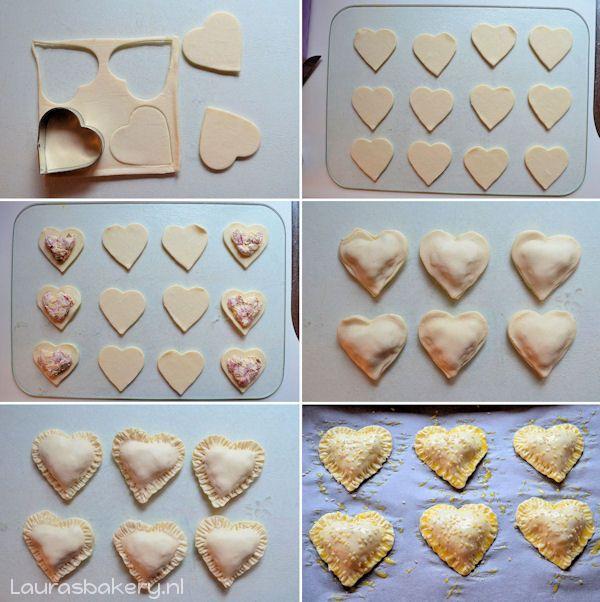 Hartige gevulde Valentijn hartjes (voor 8 hartige hartjes) •4 plakjes bladerdeeg •kleine uitsteker in hartvorm (waarmee je 4 hartjes uit 1 plakje bladerdeeg kunt steken) •100 gram roomkaas •15 gram geraspte kaas (belegen) •3 plakjes cervelaat, fijngesneden •2 zongedroogde tomaatjes, fijngesneden •peper en zout •ei (voor het insmeren) •sesamzaadjes -- Bak de hartige hartjes in 14 minuten op 225 graden gaar.