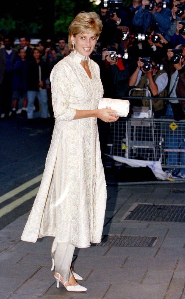 Exotic Pantsuit from Princess Diana's Best Looks Princess Diana stunned everyone when she wore an ivory pearl-studded shalwar kameez to a cancer fundraiser in London in 1996.