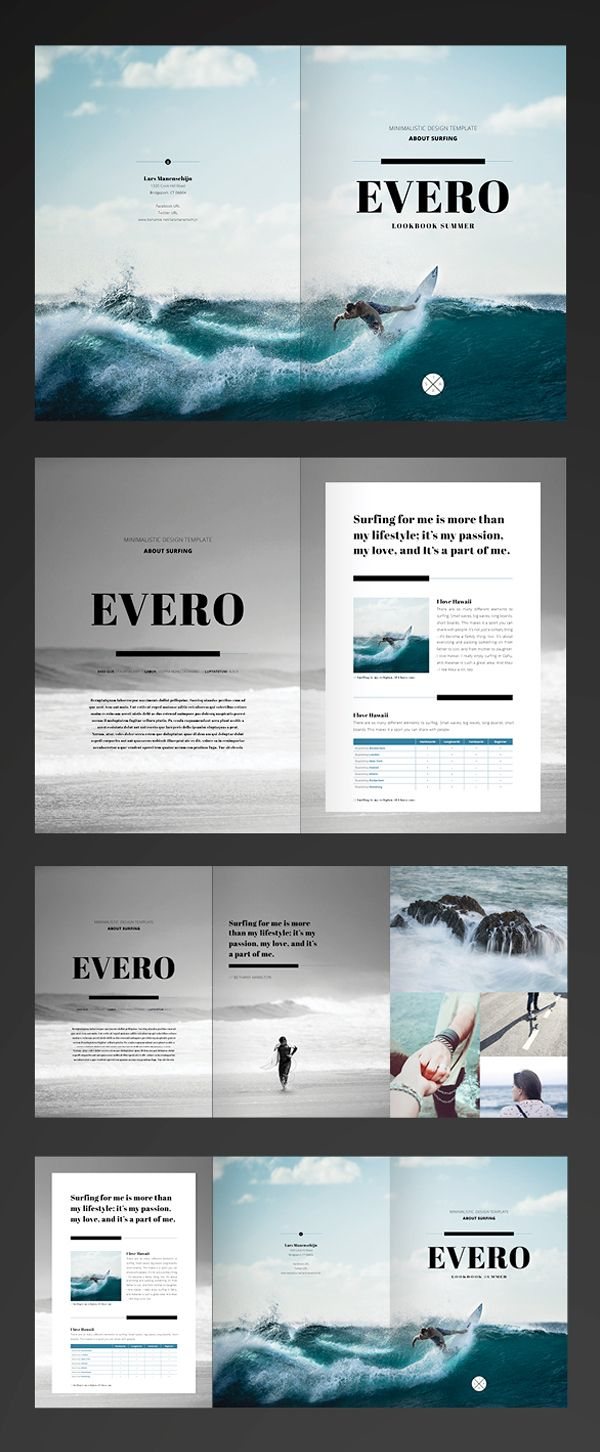 Serif / Lines / Photos / Grid / Black & White Photography /// Free InDesign Template - Trifold Brochure