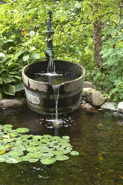 "co-e-x-i-s-t-i-n-g:  "" swansong-willows:  "" (via How Does Your GARDEN Grow / old wooden barrel water feature)  ""  ☮ Serene Boho here ☮  """