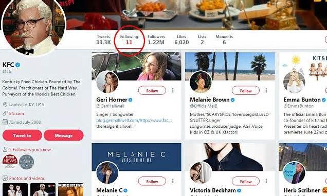 Fans go wild after realising KFC only follows 11 'spices and herbs' on Twitter in a hilarious reference to its famous chicken recipe The 11 herbs and spices are reportedly salt, white pepper, thyme, basil, oregano, celery salt, black pepper, mustard, paprika, garlic salt, and ground ginger, according to the scrapbook.