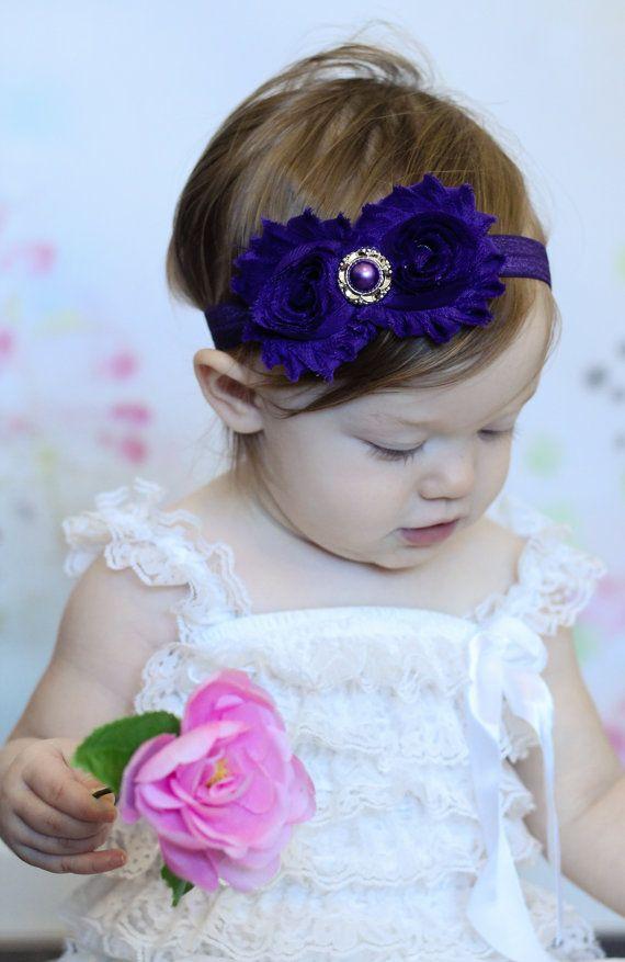 Purple Shabby Headband Shabby chic Headband by BabyBloomzBoutique, $7.95