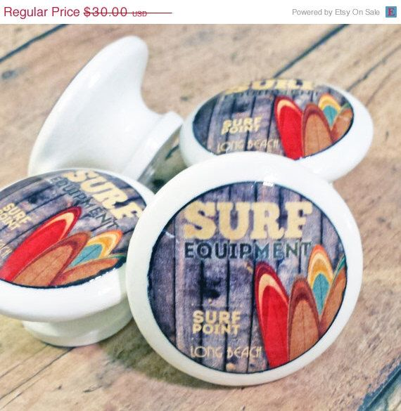 """ON SALE 6 Handmade SURF Knobs, Handmade Drawer Pulls, White Retro Style Beach Surfing Cabinet Pull Handles, 1.5"""" Dresser Knobs, Made To Orde by SRVintageandDesigns on Etsy https://www.etsy.com/listing/220838282/on-sale-6-handmade-surf-knobs-handmade"""