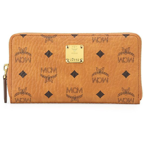 MCM Heritage Line Large Zip Wallet (6.488.805 IDR) ❤ liked on Polyvore featuring bags, wallets, purses, wallet, mcm, cognac, mcm wallet, cognac bag, coin wallet and mcm bags