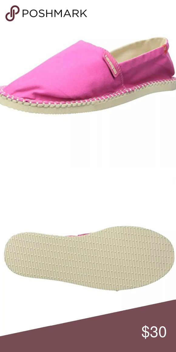 Havaianas Origine ll Espadrilles NEW! These just make me smile. A pretty pink! New in box. Manufacturer: Havaianas Size: 10 Medium (B,M) Size Origin: US Manufacturer Color: Fuchsia Retail: $38.00 Condition: New with box Style Type: Espadrilles Collection: Havaianas Shoe Width: Medium (B, M) Heel Height: 1/2 Inches Platform Height: 1/2 Inches Closure: Slip On Material: Textile/Man Made Fabric Type: Canvas Havainas Origine ll Shoes Espadrilles