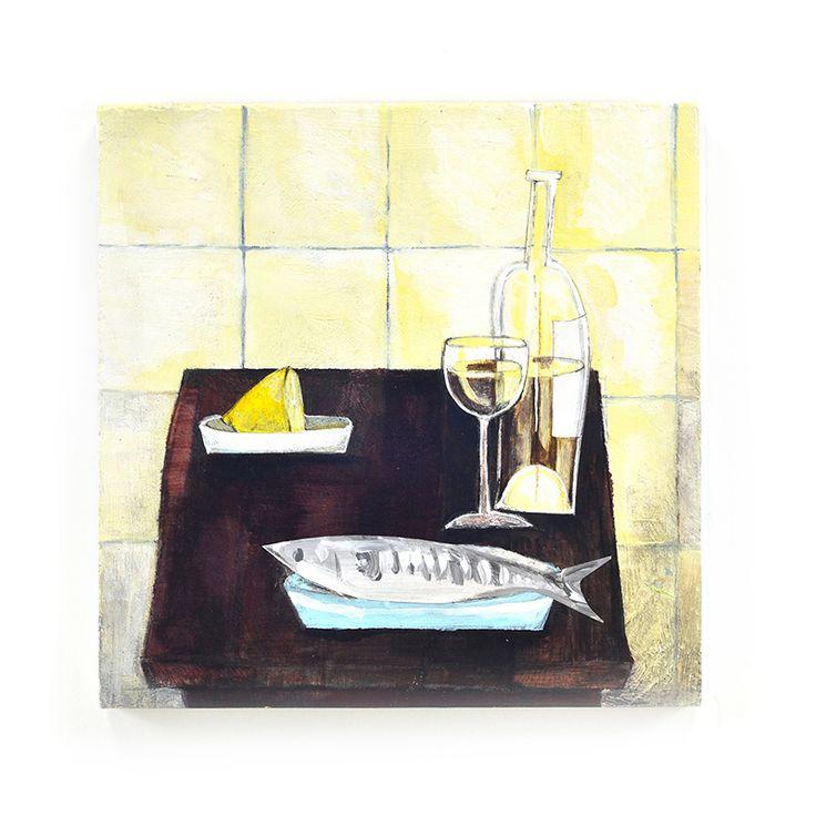 Still life. Fish and lemon. Acrylic, gouache.