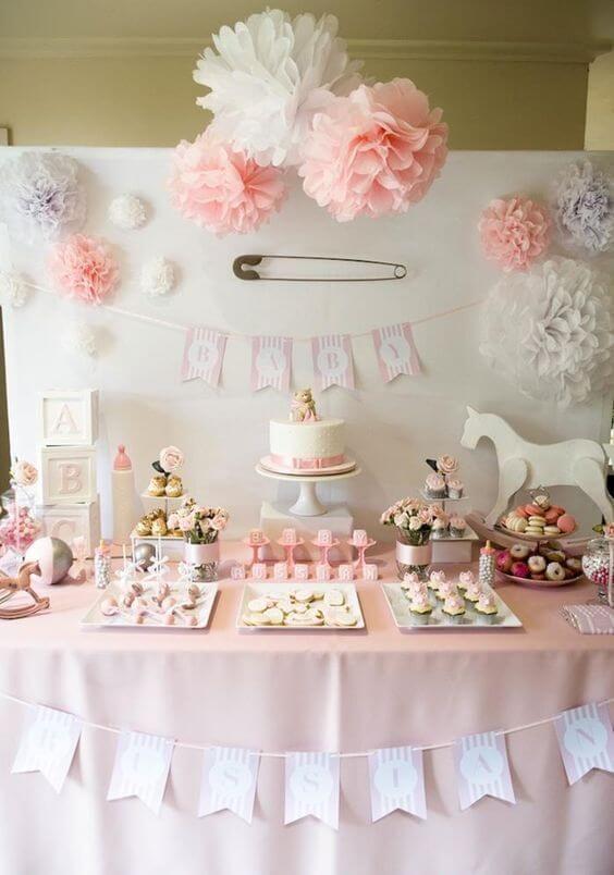 decoracao de cha de bebe mesa de doces menina