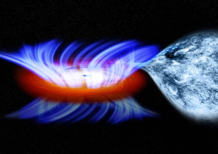 This artist's impression shows a binary system containing a stellar-mass black hole called IGR J17091-3624, or IGR J17091 for short. The strong gravity of the black hole, on the left, is pulling gas away from a companion star on the right. This gas forms a disk of hot gas around the black hole, and the wind is driven off this disk.
