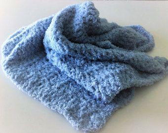 Azul manta del bebé manta del bebé del ganchillo manta de
