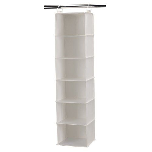 Household essentials 6 shelf hanging closet organizer with for Free hanging bookshelves
