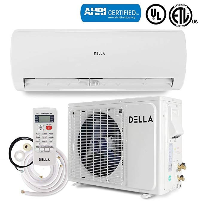 Della Ductless Mini Split Wall Mount Ac Air Conditioner With Heat Pump 22 Seer Energy Saver 12 000 Btu 230v Ahri Certificate Review Heat Pump System Air Conditioner With Heater Ductless