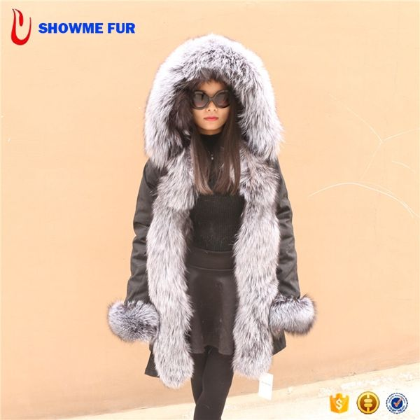 2017 New Luxury Real Fur Hooded Women'S Grey Parka Coats