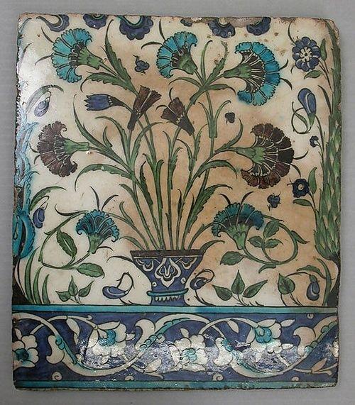 Tile - stonepaste, painted and glazed. Syria, circa 16th century