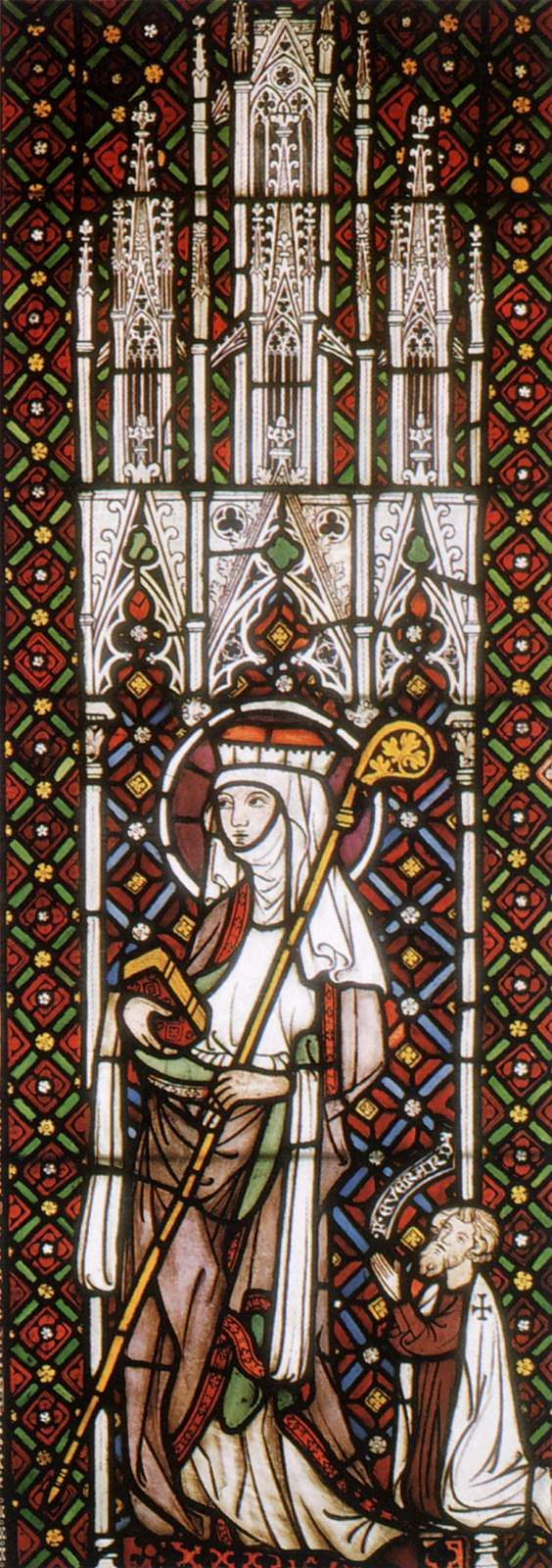 Gothic glass painter german st gertrude 1280s stained for Window in german