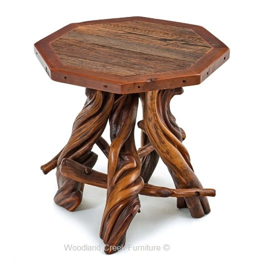 Our Log End Table With Reclaimed Barn Wood Top Is A Brand New Design. The