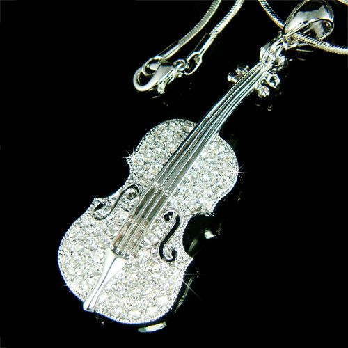 Big Swarovski Crystal MUSIC Violin Viola Cello Fiddle Pendant Necklace