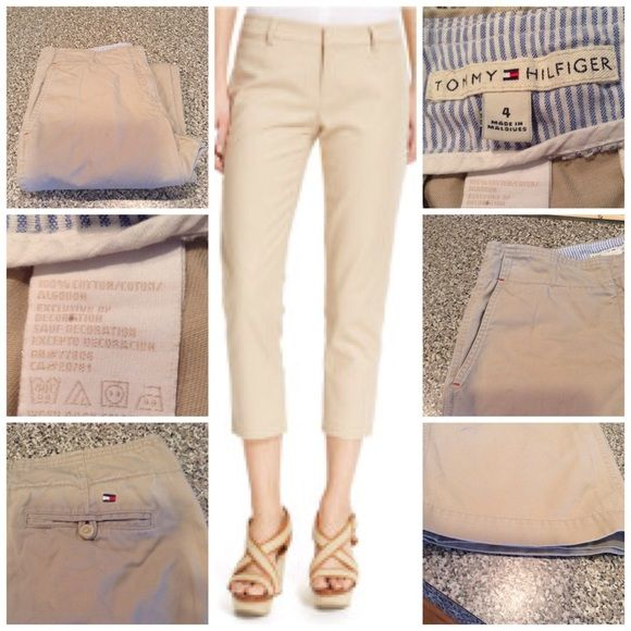 100% Cotton Khaki Capris By Tommy Hilfiger Stylish Khaki Capri's by Tommy Hilfiger. Size 4. 100% Cotton. Inseam 23. Good condition with normal wear. ✨ALL OFFERS ✨ through the Offer button only. Non smoking home. Tommy Hilfiger Pants Capris